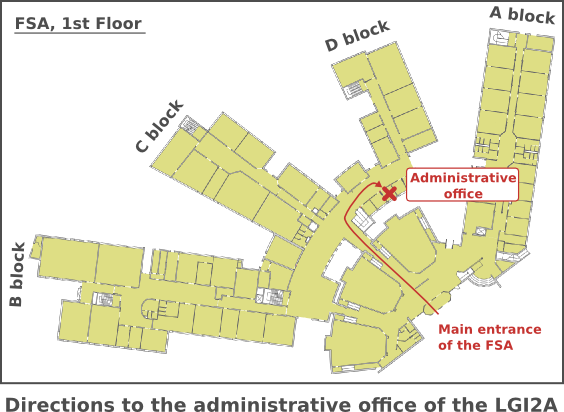 Directions to the administrative office of the LGI2A