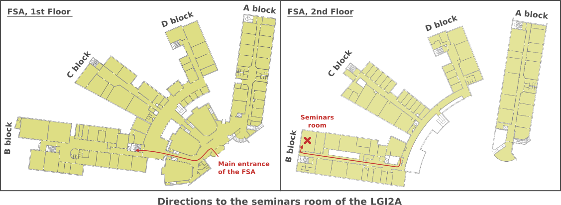 Directions to the seminars room of the LGI2A